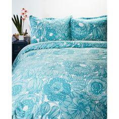 Marimekko Kurjenpolvi Full/Queen Duvet Cover Set ($90) ❤ liked on Polyvore featuring home, bed & bath, bedding, duvet covers and blue