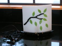 Lamp Mood Lamp Fused Glass White Green and by Mtbaldyglassworks, $135.00