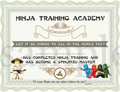 INSTANT DL- Ninjago Training Certificate – Ninjago Birthday Party -Printable (not personalized) - Modernes Lego Ninjago, Ninjago Party, Ninja Birthday Parties, Boy Birthday, Birthday Ideas, Party Mottos, Training Certificate, Party Kit, Party Ideas