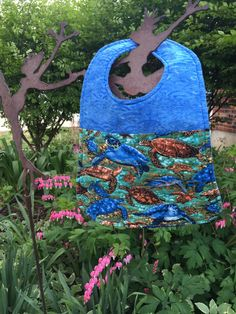 Toddler Blue Batik Bib with Sea Turtles by PeggyGaylerDesigns