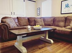 Trestle Style Farmhouse Coffee Table Stained in Minwax Jacobean.