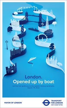 This is a poster I worked on for Transport for London. I designed and then intricately cut out all the London landmarks out of paper along two ribbons of paper. It took me a while to work out the composition and cut out every little window by hand!...