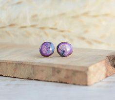 Blue purple wood earrings tree branch studs earrings hand