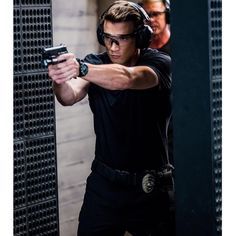 Alex Russell: Not wearing the SWAT uniform doesn't mean not tearing it up in the firing range. Was that enough double negative talk? Swat, Lina Esco, Alex Russell, Double Negative, Police Cops, Tv Series 2017, Hawaii Five O, How To Look Handsome, Perfect Man