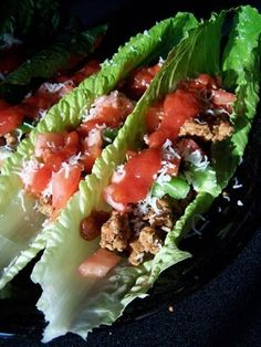 romaine lettuce wrapped tacos. --------These are best with diced chicken breasts  instead of Hamburger! Just add packet of ckn taco seasoning by McCormick or similar seasoning. Made 7-23-13 Hypoglycemic Recipe