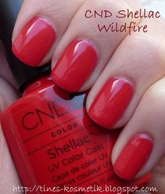 CND Shellac Wildfire -- wore it on vacation a couple of weeks ago.  It was the perfect bright, vintage-y red!