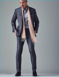 Such must-haves as a grey check suit and a grey long sleeve shirt are an easy way to infuse a touch of rugged refinement into your day-to-day arsenal. Tap into some David Gandy stylishness and complete this outfit with a pair of black leather derby shoes. Pink Pocket Square, Men's Pocket Squares, Grey Check Suit, Black Suit Men, Grey Long Sleeve Shirt, Pink Scarves, Sharp Dressed Man, Derby Shoes, Men Looks