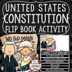 U.S. Constitution Day Activities Flip Book United States History United States Constitution, Constitution Day, Interactive Activities, Interactive Notebooks, Branches Of Government, D Day, Flipping, Social Studies, Booklet