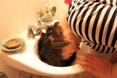"""If you have especially thick hair that takes forever to dry, try """"half-washing it"""" in the sink. 