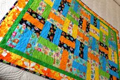 Baby or toddler patchwork quilt, playmat, unisex baby quilt, nursery decor, baby blanket, green yellow turquoise and orange quilt - pinned by pin4etsy.com