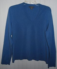Ann Taylor Women's XL Cashmere Long Sleeve V Neck Sweater Blue #AnnTaylor #VNeck