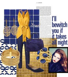 """""""Navy Blue and Gold Outfit"""" by twinkle0088 on Polyvore"""