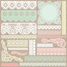 """Battenburg Lace and Crochet Trim SVG Collection"".   Included in this gorgeous group is a beautiful Battenburg Lace Doily, Edge, Corner and Flourish as well as 14 other pieces of crochet-style trim!  So lovely!"