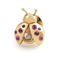 Pre-owned Chopard Happy Diamonds 18K Yellow Gold Gemstone Ladybug Pin ($1,550) ❤ liked on Polyvore featuring jewelry, brooches, preowned jewelry, diamond jewellery, gemstone jewelry, diamond gemstone jewelry and diamond brooch