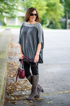 Fashion Over 40: Transitional Poncho with Leggings and Suede Boots