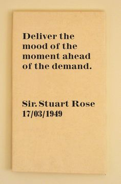 entrepreneur quote by business man and fashion retailer Sir Stuart Rose. £200 canvas by Honed.