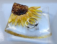 Fused Glass Sunflower Trinket Bowl by BlueFairyDesigns on Etsy