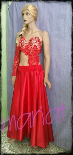 Red belly dance costume with lace ..