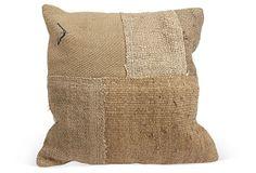 Tan Woven Patchwork Pillow  on OneKingsLane.com