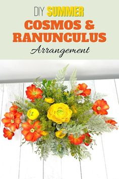 Make a DIY Summer Cosmos & Ranunculus artificial flower arrangement for your entryway or your living room. Decorating with flowers is fun! Our wreath of the month club has over 100 video tutorials, including this one. Click to learn more. #wreathmaking #diy #southerncharmwreaths Artificial Flower Arrangements, Artificial Flowers, Floral Arrangements, Full Sun Garden, Do It Yourself Crafts, Summer Diy, Summer Wreath, How To Make Wreaths, Entryway Decor