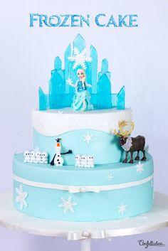Frozen cake, gâteau reine des neiges Frozen 1, Disney Frozen Cake, Frozen Theme Cake, Disney Cakes, Frozen Party, Princess Wedding Cakes, Princess Cakes, Olaf, Easy Minecraft Cake