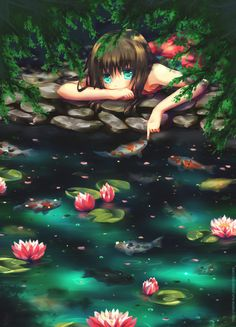 A cute but sad manga girl plays with koi fish and lotus flowers in this Photoshop painting by Namie-kun
