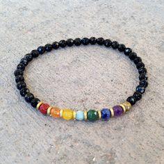 Chakra, fine faceted chakra gemstones and onyx bracelet