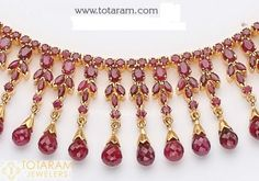 22 Karat Gold Ruby Necklace & Long Earrings set with intricate workmanship. Gold Ruby Necklace, Diamond Pendant Necklace, Drop Earrings, Pearl Necklace, Gold Jewellery Design, Gold Jewelry, Vintage Jewelry, Temple Jewellery, Body Jewellery