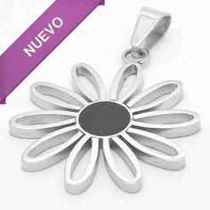 Joyas de Acero-Colgantes-PA0317.diseño de flor esmaltada en color negro, diámetro 3 cm
