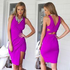 Irregular Solid Color V-neck Bodycon Dresses