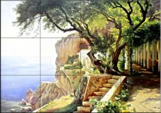 Pergola In Amalfi by Carl Frederic Aagaard - Kitchen Backsplash / Bathroom wall Tile Mural Tile Mural Store-Kitchen,http://www.amazon.com/dp/B00A5TDFQM/ref=cm_sw_r_pi_dp_yZ7Tsb1CDZZJ7B12