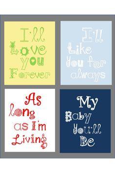 Nursery Art Prints, I'll Love you for ever art 4-8x10 prints,  Boy or Girl Nursery or playroom. $55.00, via Etsy.