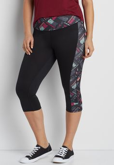 plus size capri legging with colorful patterned sides and waistband