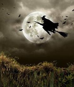 Witch riding broom; Flying witch on Halloween night