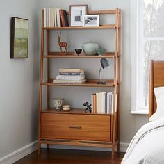Mid-Century Bookshelf - Tall Wide | West Elm Next to fireplace? narrow one on…