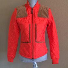 """Ralph Lauren Sport puffer jacket Bright orange nylon quilted puffer jacket with suede shoulder patches and trim. Zipper unzips from the bottom also. 22"""" long. 18"""" wide armpit to armpit. 24"""" sleeves. Sweater fabric on sides for added stretch and comfort. Ralph Lauren Jackets & Coats Puffers"""