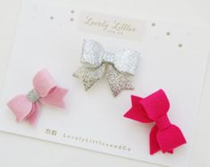 Mini Wool Felt Bow clip set of 3 for baby and girl on gold alligator clip. Neon pink, Baby pink and cream.