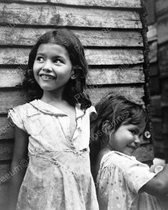 Girls Smile In Ragged Dresses Depression 8x10 Reprint Of Old Photo