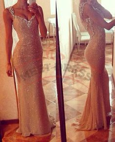 Gold Mermaid Prom Dresses, Sequin Prom Dresses, Bling Prom Dresses, See Through Prom Dresses, Prom Dresses 2016