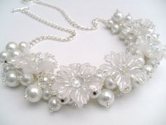 White Pearl Beaded Necklace Bridal Jewelry Winter by KIMMSMITH