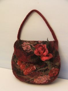Beautiful things can be made with felt!  felted wool bag with 3D rosa Purse OOAK ...  hand made by beatassoul on etsy