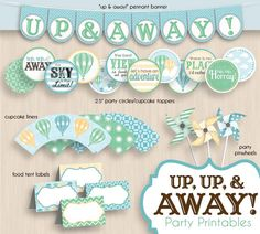 HOT AIR BALLOON Birthday Party Printable Package in Seafoam Green. $25.00, via Etsy.