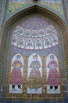 Qajar tiles, Bagh-e Narenjestan, Shiraz, Iran,