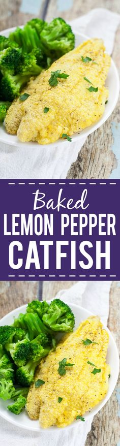 Lemon Pepper Baked Catfish Recipe - Crisp, zesty and baked right in the oven, this Lemon Pepper Baked Catfish recipe can be made in just 30 minutes with 5 ingredients! Quick and easy dinner recipe. He (Dinner 30 Minutes Baked Salmon) Catfish Recipe Easy, Baked Catfish Recipes, Baked Dinner Recipes, Baked Shrimp, Baked Fish, Baked Salmon, Fish Dishes, Seafood Dishes, Seafood Recipes