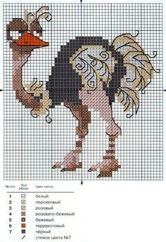 ostrich free cross stitch pattern