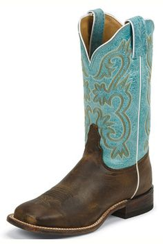 Tony Lama Women's Tan Worn Goat Americana Western Boos With Teal Tops (7915L) 1