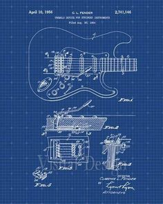 Gibson guitar blueprint gits pinterest gibson guitars williston forge fender stratocaster guitar blueprint graphic art in blue gridwhite ink malvernweather Gallery