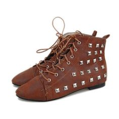 Wholesale Brown Studded Flat Punk Rock High Top Shoes Boots Women SKU-11405108 #dental #poker Studded Flats, Wholesale Shoes, Boots Women, Top Shoes, Punk Rock, Poker, Cloths, Dental, Hiking Boots
