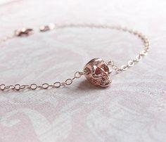 Tiny Rose Gold Skull Bracelet