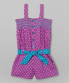 Another great find on #zulily! Purple Polka Dot Romper - Infant, Toddler & Girls by Pink House #zulilyfinds